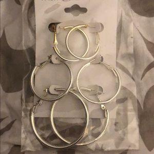 3 pair of hoop earrings
